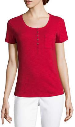 Liz Claiborne Short Sleeve Henley Tee - Tall