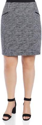 Foxcroft Plus Jemma Striped Knit Pencil Skirt