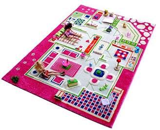 Little Helper 3D Childrens Play Rug in Playhouse Design, Pink/Multicoloured (100 x 200cm)