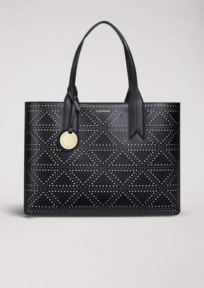 Emporio Armani Faux Leather Tote Bag With Pendant
