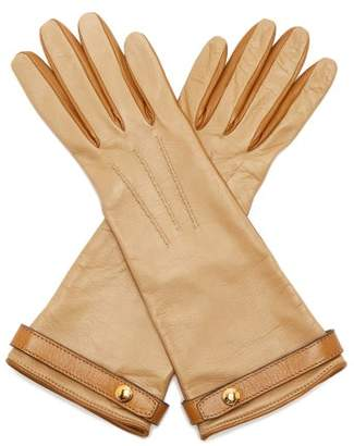 Burberry Bi Colour Leather Gloves - Womens - Nude