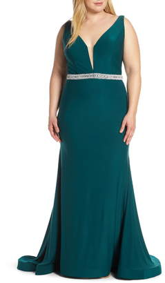 Mac Duggal Plunging V-Neck Jeweled Waist Jersey Gown