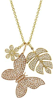 Sydney Evan Butterfly, Leaf and Flower Charm Necklace - Yellow Gold