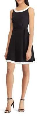 Chaps Monochrome Self-Tie Sleeveless Jersey Dress