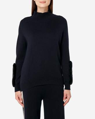 N.Peal Fur Patch Polo Neck Jumper