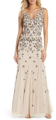 Adrianna Papell Beaded Floral Trumpet Gown