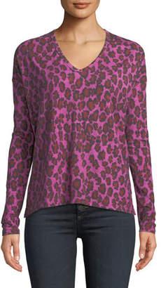 Neiman Marcus Majestic Paris for Leopard-Print Long-Sleeve V-Neck Top