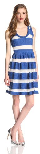 Tracy Reese Women's Sheer Pique Striped Sleeveless Frock Dress