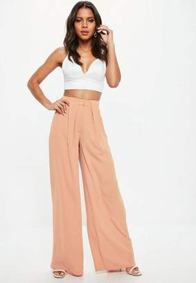 Missguided Nude Pleat Tuck Wide Leg Pants