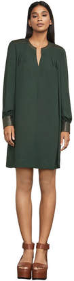 BCBGMAXAZRIA Lylee Faux-Leather-Trimmed Dress