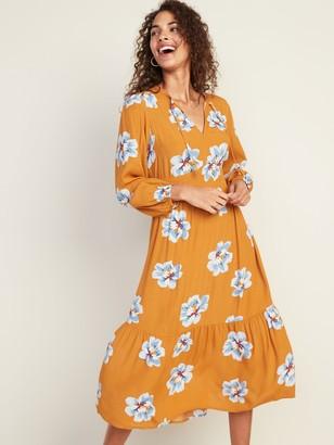 Old Navy Empire-Waist Split-Neck Floral Midi Dress for Women