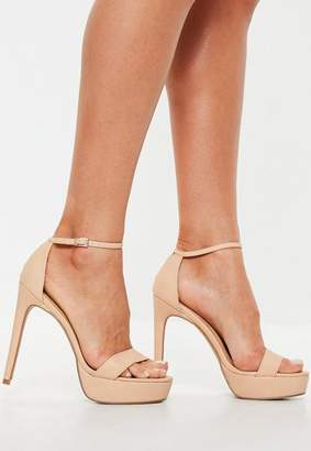 Missguided Nude Simple Strap High Platform Sandal