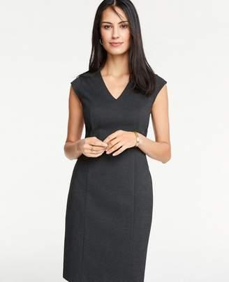 Ann Taylor Petite Pindot V-Neck Sheath Dress
