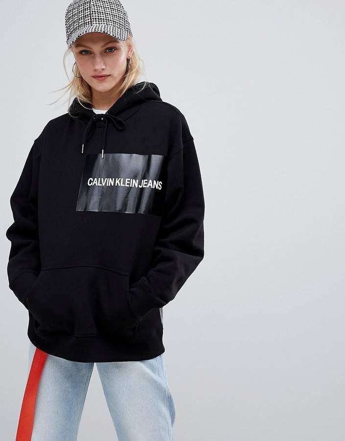 Jeans hoodie with vinyl logo