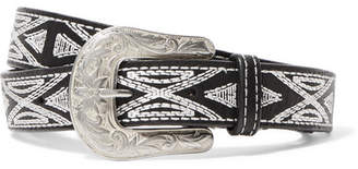 Isabel Marant Tety Embroidered Leather Waist Belt - Black