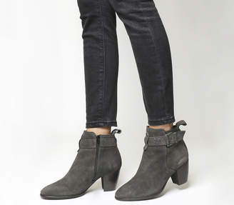 ae9aaf040e60 Office Amelie Buckle Strap Western Boots Grey Suede