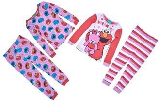 Sesame Street Elmo & Cookie Monster Little Girls Cotton Pajama Set