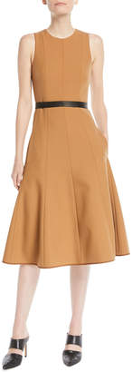 Narciso Rodriguez Twill Sleeveless Fit-and-Flare Midi Dress