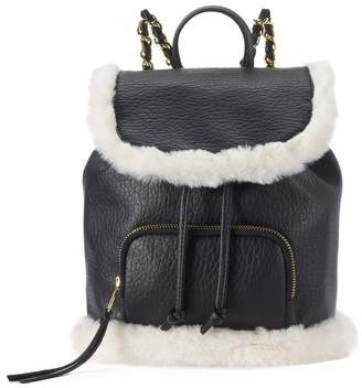 So SO Sasha Faux Fur Trim Mini Drawstring Backpack