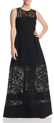 Aidan Mattox Lace-Inset Crepe Gown