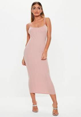 Missguided Pink Scoop Neck Strappy Bandage Midi Dress