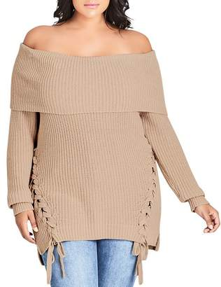 City Chic Plus Off-the-Shoulder Lace-Up Sweater