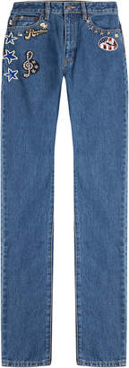 Marc Jacobs Straight Leg Jeans with Patches and Embellishment