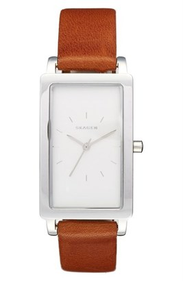 Skagen 'Hagen' Leather Strap Watch, 22mm x 43mm $155 thestylecure.com