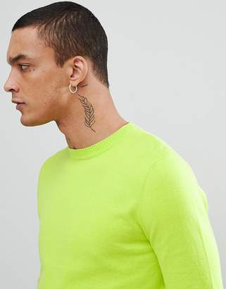 Asos DESIGN Crew Neck Cotton Sweater In Lime Green