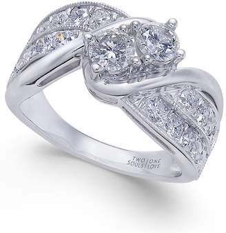 Macy's Diamond Two Souls Engagement Ring (1-1/2 ct. t.w.) in 14k White Gold