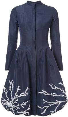 Oscar de la Renta sequin-embroidered bubble-hem shirt dress