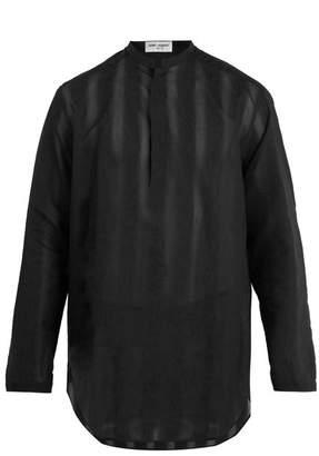 Saint Laurent - Floral Embroidered Sheer Cotton Blend Shirt - Mens - Black