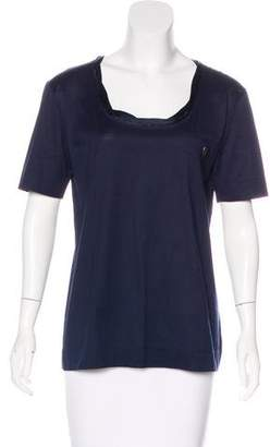 Gianfranco Ferre Satin Trim Scoop Neck T-Shirt
