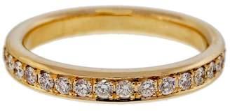 14K Yellow Gold 0.58ct Pave Diamond Band Bead Set Ring Size 6.5