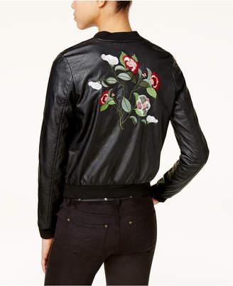 Joujou Jou Jou Juniors' Faux-Leather Embroidered Bomber Jacket