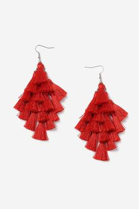 **red Multi-Tassel Chandelier Earrings