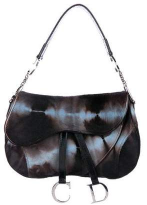 Christian Dior Tie-Dye Print Ponyhair Saddle Bag