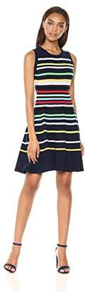 Milly Women's Knit Rainbow Striped Fit and Flare Sleeveless Dress