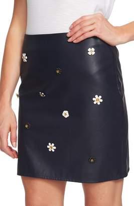 CeCe Embellished Faux Leather Miniskirt