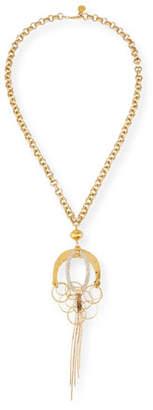 Devon Leigh Long Crystal & Dangle Pendant Necklace
