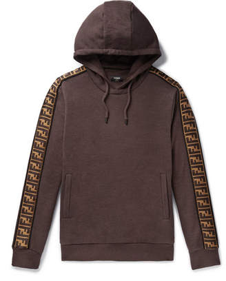 Fendi Logo-Trimmed Cotton, Wool, Silk And Cashmere-Blend Hoodie