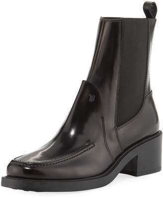 Tod's Soft Leather Low-Heel Chelsea Booties