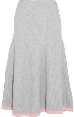 Victoria Beckham - Ribbed Wool-blend Midi Skirt - Gray