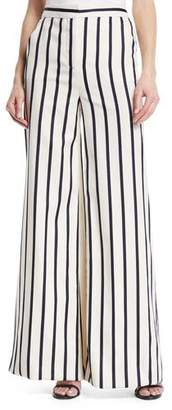 Veronica Beard Xena Striped Wide-Leg Cotton Pants