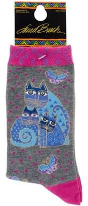 Laurèl Burch Socks-Indigo Cats - Pink