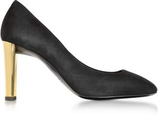 Giuseppe Zanotti Black Suede Pump w/Golden Heel