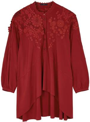 High Portray Dark Red Lace-trimmed Top