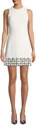 David Koma Sleeveless Crewneck Metallic-Embroidered Mini Dress