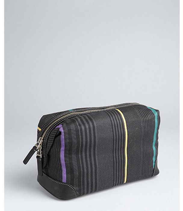 Paul Smith black striped canvas 'Benjamin' travel case