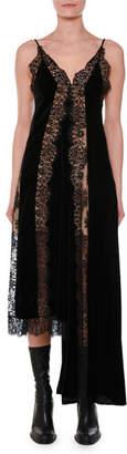 Stella McCartney V-Neck Sleeveless Velvet Lace A-Line Midi Cocktail Dress with Asymmetric Hem